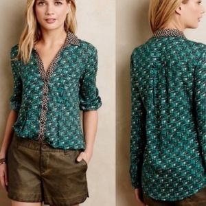 Anthropologie Maeve Green Casia Button-down Long Sleeve Henley Collar Top 10